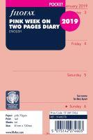 Filofax kalendář A7 2019 týden na dvě strany anglický růžový