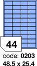 Rayfilm R0123 modré etikety 48,5x25,4mm 100listů