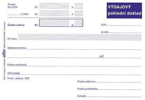 Tiskopis Výdajový pokladní doklad pro daňovou evidenci