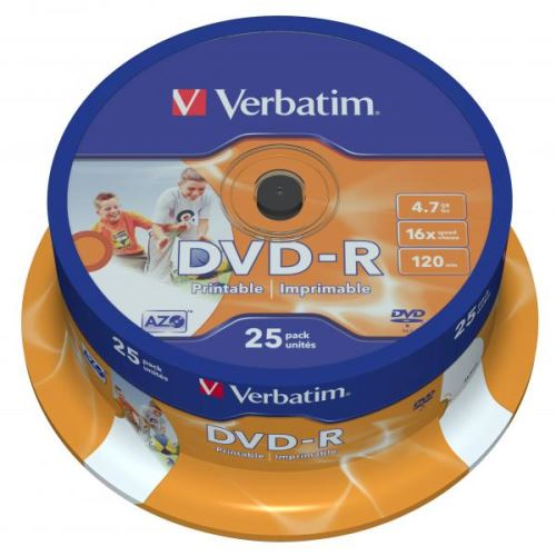DVD-R Verbatim 4.7GB, 25-pack, Spindle, printable