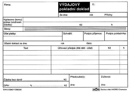 Tiskopis Výdajový pokladní doklad pro plátce DPH
