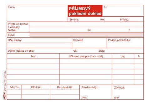 Tiskopis Příjmový pokladní doklad pro plátce DPH typ A