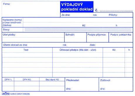 Tiskopis Výdajový pokladní doklad pro plátce DPH typ A