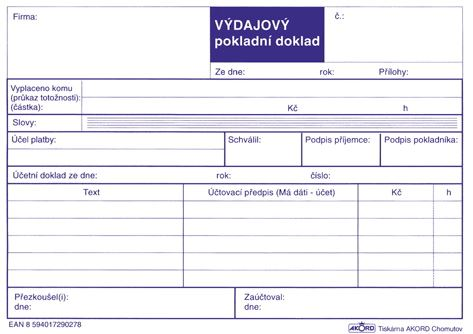 Tiskopis Výdajový pokladní doklad A6 samopropisovací