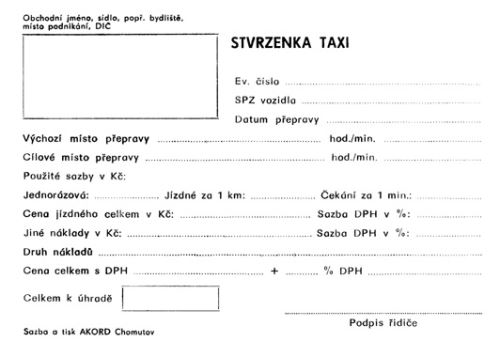Tiskopis Stvrzenka TAXI A6