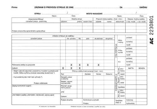Záznam o provozu stroje A5 samopropisovací tiskopis