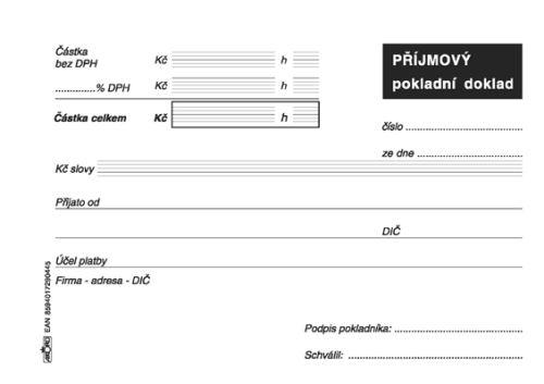 Tiskopis Příjmový pokladní doklad pro daňovou evidenci