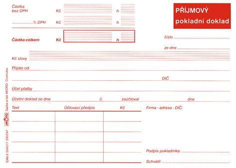 Tiskopis Příjmový pokladní doklad pro plátce DPH typ B