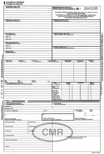 Tiskopis CMR - mezinárodní nákladní list Německo/český