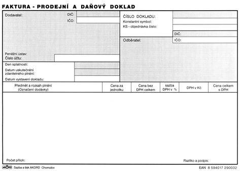Tiskopis Faktura prodejní a daňový doklad