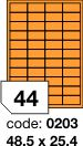Rayfilm R0133 fluo oranžové etikety 48,5x25,4mm 100listů