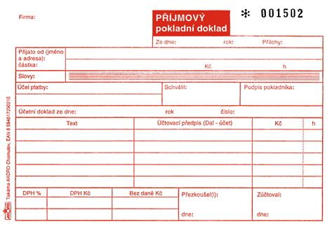 Tiskopis Příjmový pokladní doklad pro plátce DPH