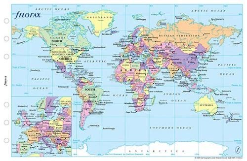 Filofax náplň do diáře formát A6 politická mapa světa