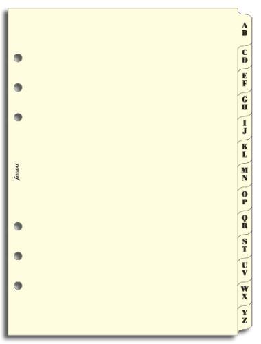 Filofax náplň do diáře formát A5 krajové výřezy A-Z krémové