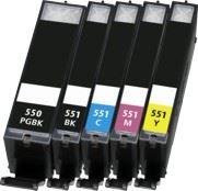 Canon PGI-550BK, CLI-551CMYK XL set 5ks kompatibilních náplní